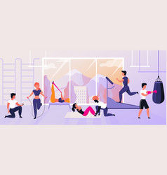 Exercises at gym cartoon characters doing sport vector