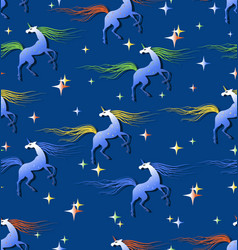 Fabulous unicorns surrounded by shining stars vector