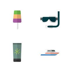 Flat hot set of sundae boat moisturizer and vector