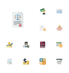 Flat icons moneybox tactics deadline and other vector