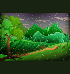 Forest scene with green trees and mountains vector