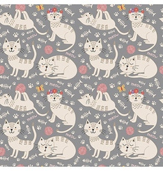 Funny seamless pattern with cute cats vector