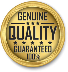 genuine quality guaranteed 100 gold label vector image