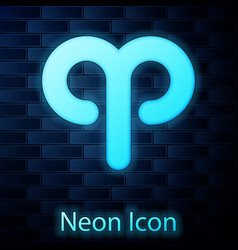 Glowing neon aries zodiac sign icon isolated vector