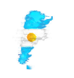 Grunge map argentina with argentinian flag vector