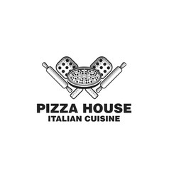 hand drawn pizza logo inspiration isolated on vector image