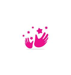 Hands star clap logo vector