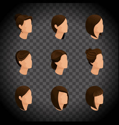 isometric set womens hairstyles hair style vector image