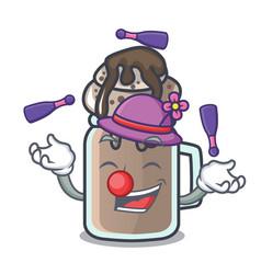 Juggling milkshake mascot cartoon style vector