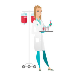 Laboratory assistant analyzing blood in test tube vector