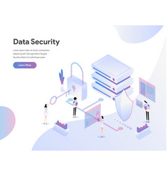 landing page template data security isometric vector image