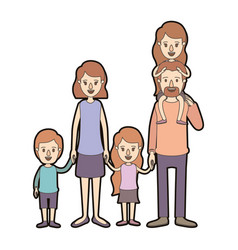 Light color caricature thick contour family group vector