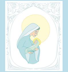 Madonna and child jesus - christmas card vector