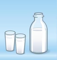 milk bottle and 2 glasses vector image