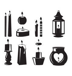 Monochrome symbols candles for birthday vector