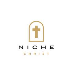 niche christ cross door arch church logo icon vector image