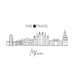 one continuous line drawing milan city skyline vector image