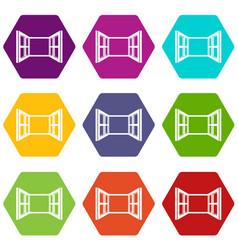 Open window frame icons set 9 vector
