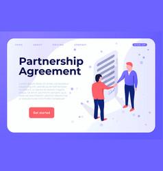 Partnership agreement webpage landing vector