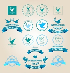 peace day badges icons vector image