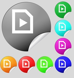 Play icon sign Set of eight multi-colored round vector