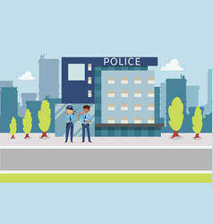 police concept with cops flat style near vector image