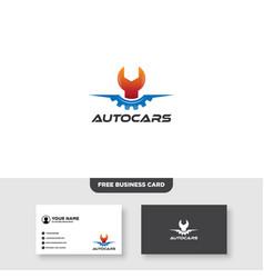 Repair car logo silhouette car gear and wrench vector