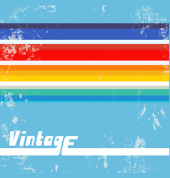 retro background with colorful lines vintage vector image