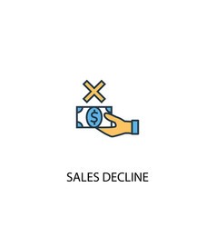 Sales decline concept 2 colored line icon simple vector