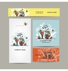 Sangria spanish drink Business cards design vector image