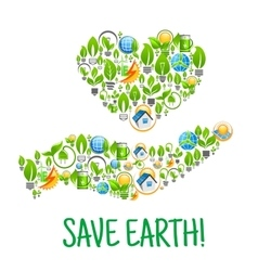 Save earth eco environment creative vector
