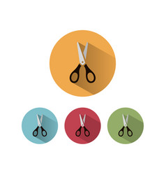Scissors icon with shadow on colored circles vector