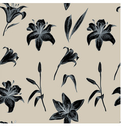 Seamless pattern lilly flower hand vector