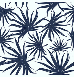 seamless pattern with tropical palm tree leaves vector image