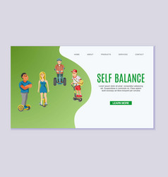self-balancing young men and girl riding solowheel vector image