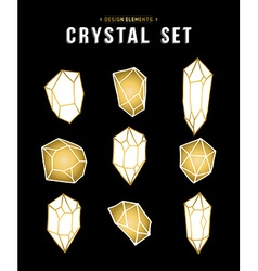 Set of gold color diamond rock elements vector