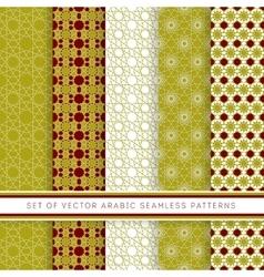 Set of green arabic pattern vector