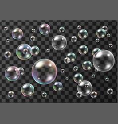 Set realistic colorful soap bubbles vector