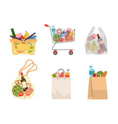shopping bags with foods grocery purchases paper vector image