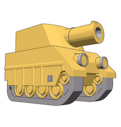 small yellow tank on white background vector image