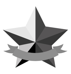 star emblem with banner icon image vector image