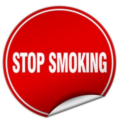 Stop smoking round red sticker isolated on white vector