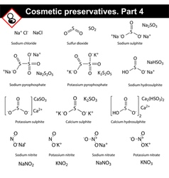 Structures of main cosmetic preservatives vector image