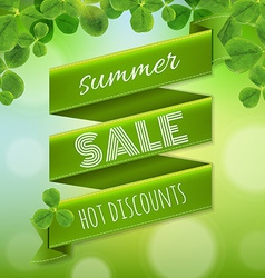Summer Sale Poster With Leaves vector image