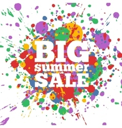 Summer Sale poster with paint stains on background vector