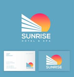 sunrise logo hotel and resort sun business card vector image