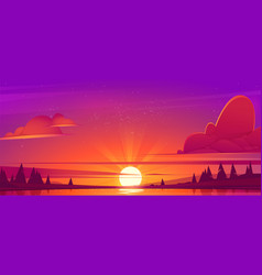 sunset landscape with lake and trees vector image