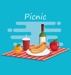 Tableclothes picnic with food scene vector