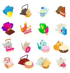 Tea day icons set isometric style vector