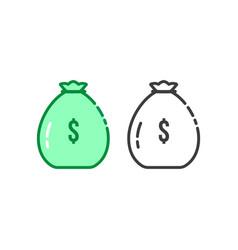 thin line set of money bag logo vector image
